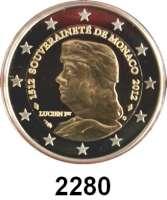 AUSLÄNDISCHE MÜNZEN,E U R O  -  P R Ä G U N G E N Monaco 2 Euro 2012.  500. Jahrestag der Unabhängigkeit Monacos.  Schön 81.  KM 199.  Im Originaletui mit Zertifikat.