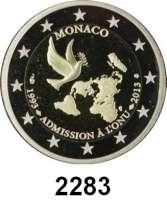 AUSLÄNDISCHE MÜNZEN,E U R O  -  P R Ä G U N G E N Monaco 2 Euro 2013.  20 Jahre UN-Mitgliedschaft.  KM 200.  Im Originaletui mit Zertifikat.