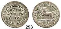 Deutsche Münzen und Medaillen,Braunschweig - Wolfenbüttel Rudolf August und Anton Ulrich 1685 - 1704 6 Mariengroschen 1696 ICB, Wolfenbüttel.  5,70 g.  Welter 2098.