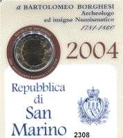 AUSLÄNDISCHE MÜNZEN,E U R O  -  P R Ä G U N G E N San Marino 2 Euro 2004.  Bartolomeo Borghesi.  Schön 453.  KM 467.