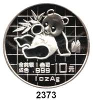 AUSLÄNDISCHE MÜNZEN,China Volksrepublik seit 1949 10 Yuan 1989 (Silberunze).  Panda mit Bambuszweig.  Schön 215.  KM A 221.  In Kapsel.