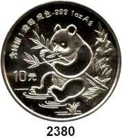 AUSLÄNDISCHE MÜNZEN,China Volksrepublik seit 1949 10 Yuan 1991 (Silberunze).  Jahreszahl ohne Serifen.  Panda mit Bambuszweig.  Schön 328.  KM 352.  In Kapsel.