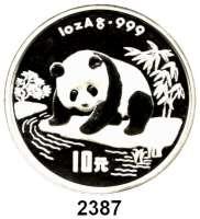 AUSLÄNDISCHE MÜNZEN,China Volksrepublik seit 1949 10 Yuan 1995 (Silberunze).  Panda beim Beobachten eines Flusslaufes.  Schön 778.  KM 723.  In Kapsel.