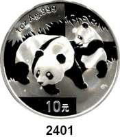 AUSLÄNDISCHE MÜNZEN,China Volksrepublik seit 1949 10 Yuan 2008 (Silberunze).  Panda mit Jungtier.  Schön 1669.  KM 1814.  In Kapsel.