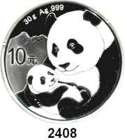 AUSLÄNDISCHE MÜNZEN,China Volksrepublik seit 1949 10 Yuan 2019.  Panda mit Jungtier.  In Kapsel.