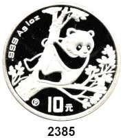 AUSLÄNDISCHE MÜNZEN,China Volksrepublik seit 1949 10 Yuan 1994 P (Silberunze).  Panda in einem Baum auf Aussichtsposten.  Schön 622.  KM 616.  In Kapsel.