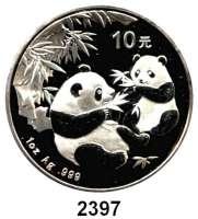 AUSLÄNDISCHE MÜNZEN,China Volksrepublik seit 1949 10 Yuan 2006 (Silberunze).  Zwei Panda mit Bambuszweigen.  Schön 1505.  KM 1664.