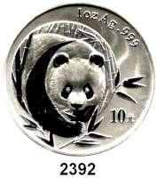 AUSLÄNDISCHE MÜNZEN,China Volksrepublik seit 1949 10 Yuan 2003 (Silberunze). Panda von vorn.  Schön 1366.  KM 1466.  In Kapsel.