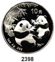AUSLÄNDISCHE MÜNZEN,China Volksrepublik seit 1949 10 Yuan 2006 (Silberunze). Zwei Panda mit Bambuszweigen. Schön 1505. KM 1664.  In Kapsel.  In Klapptasche