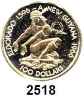AUSLÄNDISCHE MÜNZEN,Guyana  100 Dollars 1976 (2,87g fein).  10 Jahre Unabhängigkeit. Schön 46.  KM 46.  Fb. 1.  Im Originaletui mit Zertifikat.  GOLD