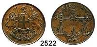 AUSLÄNDISCHE MÜNZEN,Indien Bombay 1/4 Anna 1833.  KM 232.