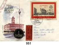 Deutsche Demokratische Republik   PP-Patina !!!!!, 5 Mark 1987.   Rotes Rathaus Berlin.  Im Numisbrief (Poststempel : 08.09.87-11).  Gelaufen als Wertbrief (17,- M) innerhalb von Calbe/Saale.  Beigegeben Einlieferungsschein 5.4.88