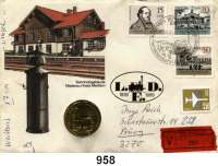 Deutsche Demokratische Republik   PP-Patina !!!!!, 5 Mark 1988.   Saxonia.  Im Numisbrief (Poststempel : 04.04.89).  Gelaufen als Wertbrief (17,- M) von Berlin nach Burg  Beigegeben Einlieferungsschein 27.10.88