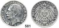 R E I C H S M Ü N Z E N,Baden, Großherzogtum Friedrich II. 1907 - 1918 PROBE.  3 Mark 1915.  Kupfer, aluminiumplattiert.  33 mm.  5,82 g.  Randschrift