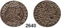 AUSLÄNDISCHE MÜNZEN,Polen Johann Kasimir 1648 - 1668 6 Gröscher 1667 TLB, Bromberg oder Krakau.  3,26 g.  Gum. 1715.