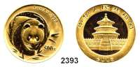AUSLÄNDISCHE MÜNZEN,China Volksrepublik seit 1949 500 Yuan 2003.  (1 UNZE  31,1g FEIN).  Panda von vorne.  Schön 1373.  KM 1474.  Fb. B 14.  Verschweißt mit Zertifikat.  GOLD