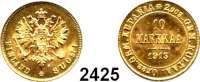 AUSLÄNDISCHE MÜNZEN,Finnland Nikolaus II. von Rußland 1894 - 1917 10 Markkaa 1913 S, Helsingfors.  (2,90g fein).  Bitkin 394.  Schön 14.  KM 8.2.  Fb. 6.  GOLD