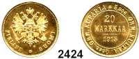 AUSLÄNDISCHE MÜNZEN,Finnland Nikolaus II. von Rußland 1894 - 1917 20 Markkaa 1913 S, Helsingfors.  (5,8g fein).  Bitkin 391.  Schön 9.  KM 9.2.  Fb. 3.  GOLD