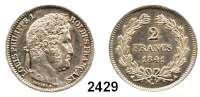 AUSLÄNDISCHE MÜNZEN,Frankreich Ludwig Philipp I. 1830 - 1848 2 Francs 1841 A, Paris.  Kahnt/Schön 71.  KM 743.1.