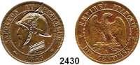 AUSLÄNDISCHE MÜNZEN,Frankreich Napoleon III. 1852 - 1870 10 Centimes (Cu) 1853 A, Paris, mit Gravuren (1870-1871): Kopf links mit Pickelhaube und Uniformkragen.