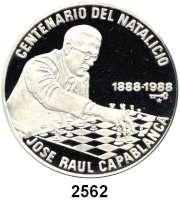 AUSLÄNDISCHE MÜNZEN,Kuba  20 Pesos 1988 (2 Unzen).  100. Geburtstag von José Raúl Capablanca (Schachweltmeister).  Schön 199.  KM 531.