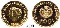 AUSLÄNDISCHE MÜNZEN,Monaco Rainier 1949 - 2005 200 Francs 1966.  (29,44 g fein).  10. Hochzeitstag von Fürst Rainier III. und Gracia Patricia .  Schön 29.  KM 148.  Fb. 32.  GOLD