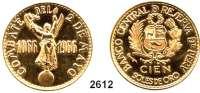 AUSLÄNDISCHE MÜNZEN,Peru Republik seit 1822 100 Soles 1966.  (42,13g fein).  Schön 48.  KM 251.  Fb. 85.  GOLD
