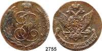AUSLÄNDISCHE MÜNZEN,Russland Katharina II. 1762 - 1796 5 Kopeken 1791 AM, Annensk.  Bitkin 861.  Craig 59.2.