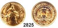 AUSLÄNDISCHE MÜNZEN,Russland Sowjetunion 1924 - 1991 10 Rubel Tscherwonez 1982, Moskau (7,74g fein).  Parch. 287.  Schön 29.  Y. 85.  Fb. 181 a.  GOLD