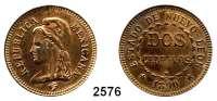 AUSLÄNDISCHE MÜNZEN,Mexiko  Nuevo-León,  2 Centavos 1890.  Kupfer-Probe (Lauer, Nürnberg).  30,6 mm.  9,83 g.