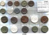 P O R Z E L L A N M Ü N Z E N,Münzen von anderen Deutschen Keramischen Fabriken L O T S     L O T S     L O T SScheuch 501.a n, 502.a n, 504.a, 506.a, 508.a, 512, 528.nI, 548.a, nII, 549.a, 550.a,  552, 553, 554, 555, 556, beigegeben Gaia/Portugal, 1 Centavo 1921 weiß (17,3 mm).  LOT 19 Stück.