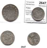 AUSLÄNDISCHE MÜNZEN,Polen LOTS   LOTS   LOTS 6 Groschen 1663 A-T; 8 Groschen 1753; 2 Zlote 1821 und 5 Zlotych - 3/4 Rubel 1836.  LOT 4 Stück.