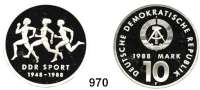 Deutsche Demokratische Republik   PP-Patina !!!!!, 10 Mark 1988.  DDR Sport 1948 - 1988.  Materialprobe in Silber.  Im Originaletui mit Zertifikat.