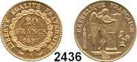 AUSLÄNDISCHE MÜNZEN,Frankreich 3. Republik 1870 - 1940 20 Francs 1897 A, Paris.  (5,8g fein).  Kahnt/Schön 131.  KM 825.  Fb. 592.  GOLD