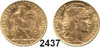 AUSLÄNDISCHE MÜNZEN,Frankreich 3. Republik 1870 - 1940 20 Francs 1906 A, Paris.  (5,8g fein).  Schön 191.1.  KM 847.  Fb. 596.  GOLD