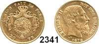 AUSLÄNDISCHE MÜNZEN,Belgien Leopold II. 1865 - 1909 20 Francs 1878.  (5,8g fein).  Kahnt/Schön 40.  KM 37.  Fb. 412.  GOLD