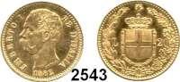 AUSLÄNDISCHE MÜNZEN,Italien Umberto I. 1878 - 1900 20 Lire 1882 R, Rom.  (5,8g fein).  Kahnt/Schön 29.  KM 21.  Fb. 21.  GOLD