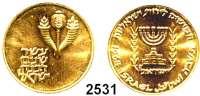 AUSLÄNDISCHE MÜNZEN,Israel  50 Lirot 1964.  (12,24g fein).  10 Jahre Bank Israel.  Schön 38.  KM 44.  Fb. 4.  GOLD