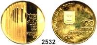 AUSLÄNDISCHE MÜNZEN,Israel  100 Lirot 1971.  (19,8g fein).  Kampf für die Freiheit.  Schön 53.  KM 60.  Fb. 8.  GOLD