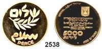 AUSLÄNDISCHE MÜNZEN,Israel  5000 Lirot 1980.  (15,56g fein).  1. Jahrestag des Friedensvertrages von Camp David.  Schön 90.  KM 105.  Fb. 15.  GOLD