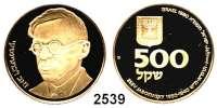 AUSLÄNDISCHE MÜNZEN,Israel  500 Sheqalim 1980.  (15,56g fein).  100. Geburtstag von Ze'ev Jabotinsky.  Schön 109.  KM 115.  Fb. 16.  GOLD