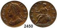 AUSLÄNDISCHE MÜNZEN,Großbritannien Georg II. 1727 - 1760 Half Penny 1751.  Spink 3719.  KM 579.2.