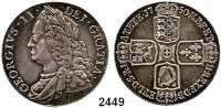 AUSLÄNDISCHE MÜNZEN,Großbritannien Georg II. 1727 - 1760 Crown 1750.  Spink 3690.  KM 585.2.