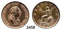 AUSLÄNDISCHE MÜNZEN,Großbritannien Georg III. 1760 - 1820 Half Penny 1799.  Spink 3778.  KM 647.