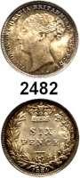 AUSLÄNDISCHE MÜNZEN,Großbritannien Viktoria 1837 - 1901 Sixpence 1884.  Spink 3912.  Kahnt/Schön 100.  KM 757.