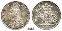 AUSLÄNDISCHE MÜNZEN,Großbritannien Viktoria 1837 - 1901 Crown 1887.  Spink 3921.  Kahnt/Schön 131.  KM 765.