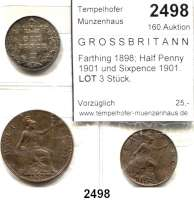 AUSLÄNDISCHE MÜNZEN,Großbritannien Viktoria 1837 - 1901 Farthing 1898; Half Penny 1901 und Sixpence 1901.  LOT 3 Stück.