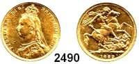 AUSLÄNDISCHE MÜNZEN,Großbritannien Viktoria 1837 - 1901 Sovereign 1889.  (7,32g fein).  Spink 3866 B.  Kahnt/Schön 133.  KM 767.  Fb. 392.  GOLD