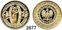AUSLÄNDISCHE MÜNZEN,Polen Volksrepublik 200 Zlotych 1997.  (13,95g fein).  Bischof Adalbert von Prag.  Fischer KZ 004.  Schön 337.  Y. 323.  Fb. 166.  GOLD