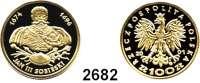AUSLÄNDISCHE MÜNZEN,Polen Volksrepublik 100 Zlotych 2001.  (7,2g fein).  Jan III. Sobieski.  Fischer KZ 011.  Schön 434.  Y. 462.  Fb. 186.  Im Originaletui mit Zertifikat.  GOLD